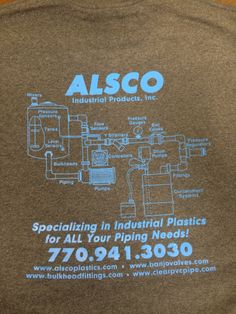 Screen Print - 1 Color Full Back Imprint on Dark Heather T-Shirts - Alsco Industries Products - Lithia Springs, GA