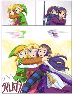 "The Legend of Zelda: A Link Between Worlds / Link, Princess Zelda, Ravio, and Princess Hilda / ""Hugs?"" - Work by Hunter x Hunter ♥ The Legend of Zelda (6)"