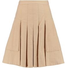 Halston Heritage Pleated brushed cotton-blend skirt (2 035 ZAR) ❤ liked on Polyvore featuring skirts, sand, halston heritage, beige skirt, pleated skirt, knee length pleated skirt and knee length skirts