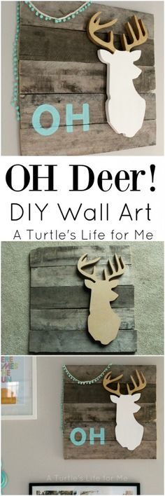 This Oh Deer artwork cracks me up! Use scrap wood, paint sticks and an unfinished deer head to make your own!
