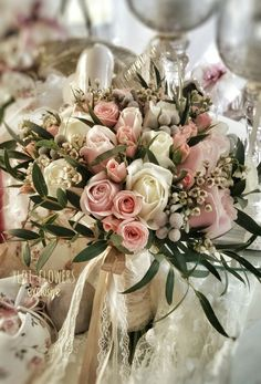 Bridal bouquet in pink and ivory roses Ivory Roses, Bridal Bouquets, Table Decorations, Flowers, Pink, Wedding Bouquets, Royal Icing Flowers, Pink Hair, Flower