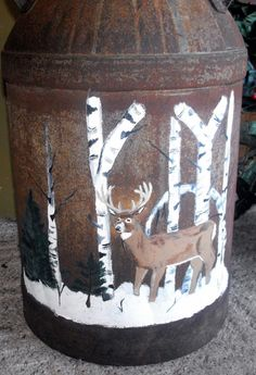 Painted milk can