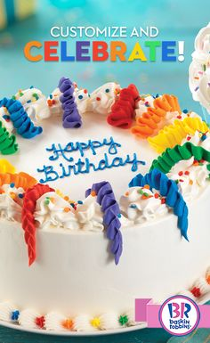Planning a birthday party? Treat your party to a Celebration Cake! It's colorful, it's delicious, it's awesome! And you can customize with your favorite cake and ice cream flavors! Order one online or pick one up in-shop today!