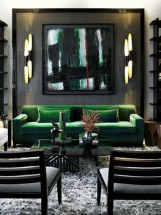 John Jacob Living Room Emerald Green Velvet Sofa Framed Out Wall Panel In Textured Grey Abstract Art Shaggy Rug