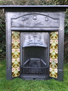 ART NOUVEAU CAST IRON TILED VICTORIAN FIREPLACE