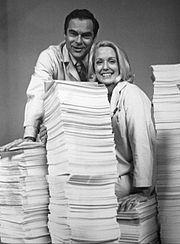 James Pritchett (Matt Powers) and Elizabeth Hubbard (Althea Davis) with ten years worth of scripts on the show's tenth anniversary