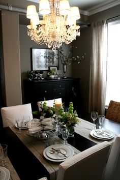 sideways table runners, parsons chairs, big furniture to hold linens, chandelier