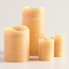 Rustic Amber Flameless LED Candle at World Market with a realistic wick design Flameless Candles, Pillar Candles, Childproofing, World Market, Amber, Wicked, Rustic, Design, Led Candles
