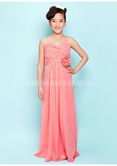 6ecbeafe7782e Buy Australia WaterMelon Spaghetti Straps Hand Made Flower Chiffon Long  Junior Bridesmaid Dresses at AU$100.98