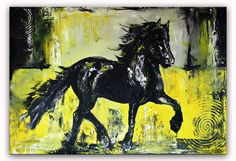 Black Beauty - Pferdebild Malerei Gemälde Unikat gelb schwarz grau Schwarzer Hengst - Pferdebild Malerei Gemälde Unikat www.burgstallers-art.de/online-shop