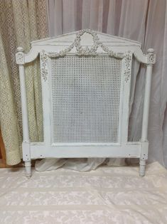 Shabby French Chic Twin Headboard Cottage Chic Painted Cottage White