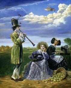 Michael Cheval - Blues de Campana de vísperas, óleo sobre lienzo
