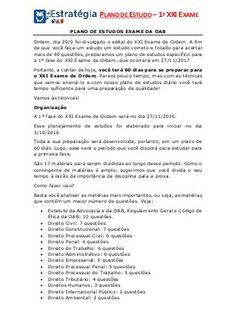 Plano de Estudos para o XXI Exame de Ordem