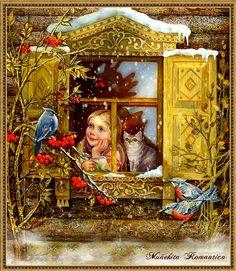 Discover the coolest GIFs Christmas Scenes, Christmas Pictures, Christmas Art, Vintage Christmas Cards, Vintage Cards, Bisous Gif, Images Vintage, Gif Animé, Russian Art