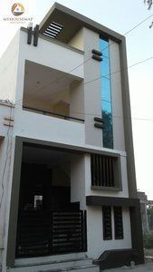 get a idea of home design at myhousemap.in and understand how we provide best house plans with latest house front elevation design in India go for india's best new design of home in and we help to make perfect design of home exterior & interior to 3 Storey House Design, Duplex House Design, House Front Design, Modern House Design, Building Elevation, House Elevation, Small House Floor Plans, Dream House Plans, Modern Exterior