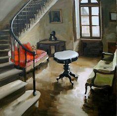 INTERIEUR AU GUERIDON Huile sur toile 100 x 100 cm / Oil on canvas - Christoff Debusschere