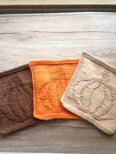 Knitted fall dishcloth, set of 3, in orange, beige and brown. Knitted pumpkin dishcloths, pumpkin washcloths by needlepointnmore on Etsy