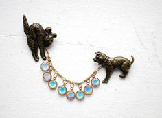 sweater clip: vintage 1940s brooch // figural rare cat dog by thegreedyseagull