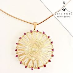 * Bloom, Grow And Blossom *  This one of a kind abstract flower mandala collar necklace, made in 18k gold filled & garnet color crystals is a transcendental spring statement! The mandala represents wholeness and this piece is sure to make you feel complete!  >> Have you visited our website today? Fall in love with our collections and exclusive gemstone pieces at www.annystern.com <<