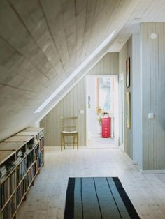 bookshelves for a sloping wall
