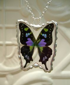 Real Butterfly Pendant  Purple Spotted Swallowtail by workofwhimsy, $50.00