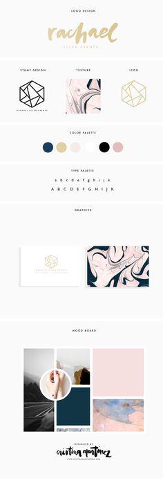 RACHAEL ELLEN EVENTS — CRISTINA MARTINEZ - design - branding board #thevintees #graphicdesign