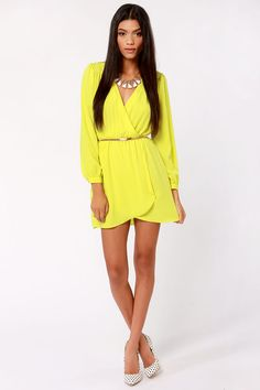 That's a Wrap Neon Yellow Long Sleeve Dress at LuLus.com!