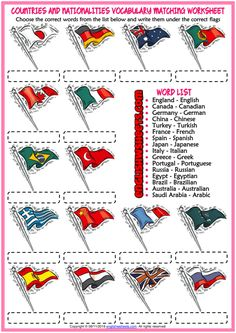 Countries and Nationalities ESL Matching Exercise Worksheet - AllWorldLanguages Geography Worksheets, Vocabulary Worksheets, Worksheets For Kids, English Vocabulary, English Games, English Activities, Teaching Activities, Teach English To Kids, Learn English