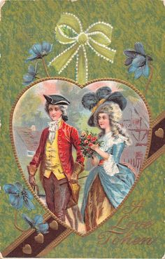 Colonial Lovers Framed by Heart by Forget Me Nots 1909 Valentine Postcard | eBay
