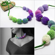 #necklace with #crochet #beads in #green #white and #purple colors
