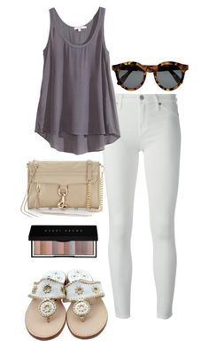 """neutral colors"" by kcunningham1 ❤ liked on Polyvore featuring 7 For All Mankind, Calypso St. Barth, Illesteva, Rebecca Minkoff, Jack Rogers and Bobbi Brown Cosmetics"