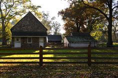 Autumn view and the side view of the stable.