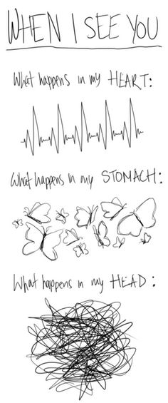 when i see you: what happens in my heart. what happens in me stomach. what happens in my head