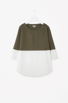 COS   Jumper with shirt hem         love this idea for revamp an old jumper with and old shirt