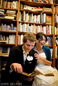 Library Wedding Photos - *Kelli! Bridal shoot! There's totally a small library in the church building! This mus happen!*