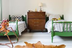 Kid's bedroom painted beds and striped flooring Painted Beds, Painted Headboard, Painted Concrete Floors, Concrete Furniture, Boys Room Design, Green Bedding, Shared Bedrooms, Kids Bedroom, Kids Rooms