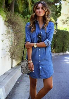 love this denim color.. .dress would have to be longer for me. 8 New Ways to Wear Denim This Summer | Divine Caroline