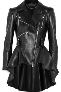 Shop for Leather Peplum Biker Jacket - Black by Alexander McQueen at ShopStyle. Peplum Leather Jacket, Leather Jackets, Biker Jackets, Moto Jacket, Outerwear Jackets, Men's Jackets, Hoodie Jacket, 2017 Fashion Outfits, Alexander Mcqueen