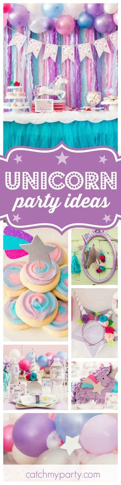 You're going to love this Magical Unicorn birthday party! The dessert table and table settings are gorgeous!! See more party ideas and share yours at CatchMyParty.com
