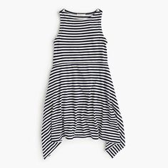 A striped dress is a must-have vacation staple—this one has a cool handkerchief-inspired hem and is constructed in a soft cotton-Modal® rayon blend. We recommend keeping it at the top of the suitcase. <ul><li>A-line silhouette.</li><li>Falls above knee.</li><li>Cotton/Modal® rayon.</li><li>Machine wash.</li><li>Import.</li></ul>