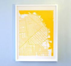 I would love maps from the cities we've lived for the guest bedroom all in these blocky colourful prints!