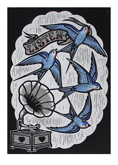 Chris Bourke. Listen. Hand painted lino print.