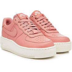 Nike Air Force Upstep Leather Sneakers (€115) ❤ liked on Polyvore featuring shoes, sneakers, pink, leather sneakers, leather footwear, nike footwear, genuine leather shoes and leather shoes