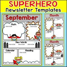 Newsletter Template - Superhero Theme Newsletter Templates Superhero Theme Editable Newsletter Templates: Parents will be excited to read the latest news from your SUPER classroom when you send home your fun comic book style superhero themed newsletter!
