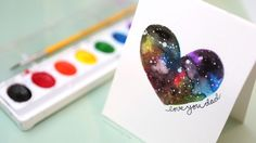 How to create a galaxy using inexpensive Crayola watercolors. Father's Day card, or you can change the greeting to whatever you'd like.