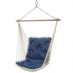 Tufted Single Swing in Dupione Galaxy Sunbrella by Hatteras Hammocks #swing #Sunbrella #outdoorliving #relaxation #enjoyyouroutdoors