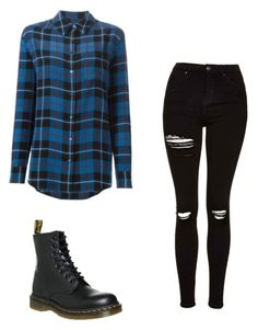 """Untitled #5"" by emo-skinny-jeans ❤ liked on Polyvore featuring Topshop, Dr. Martens and Equipment"