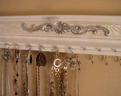 White necklace rack. jewelry organizer 11 hooks for necklaces 12 eyes for earrings /15 inches long