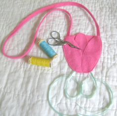 Pink Tulip Scissors Chatelaine  Wool Felt  by NewEnglandQuilter