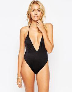 Image 2 ofASOS T Back High Leg Plunge Swimsuit